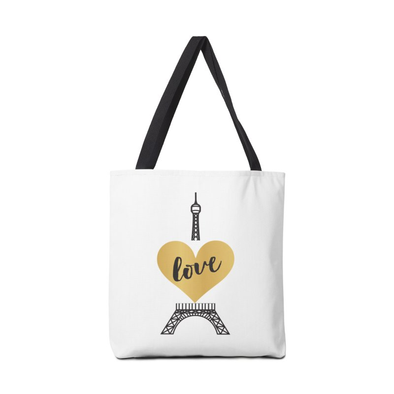 EIFFEL TOWER & GOLD HEART Accessories Tote Bag Bag by IF Creation's Artist Shop