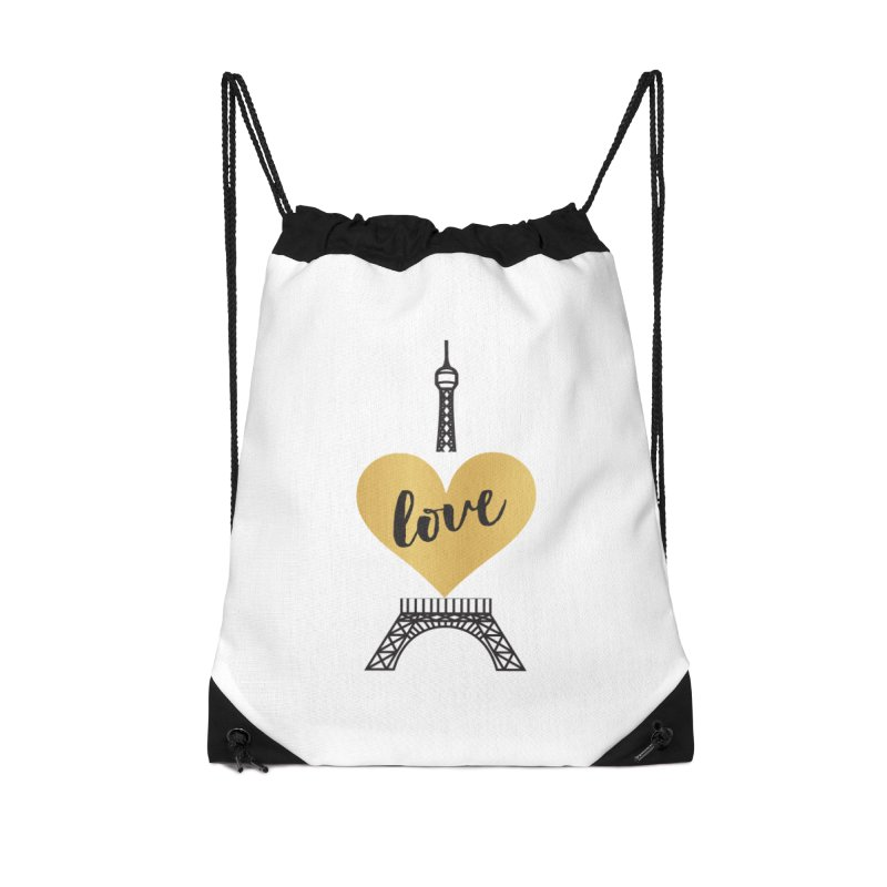 EIFFEL TOWER & GOLD HEART Accessories Drawstring Bag Bag by IF Creation's Artist Shop