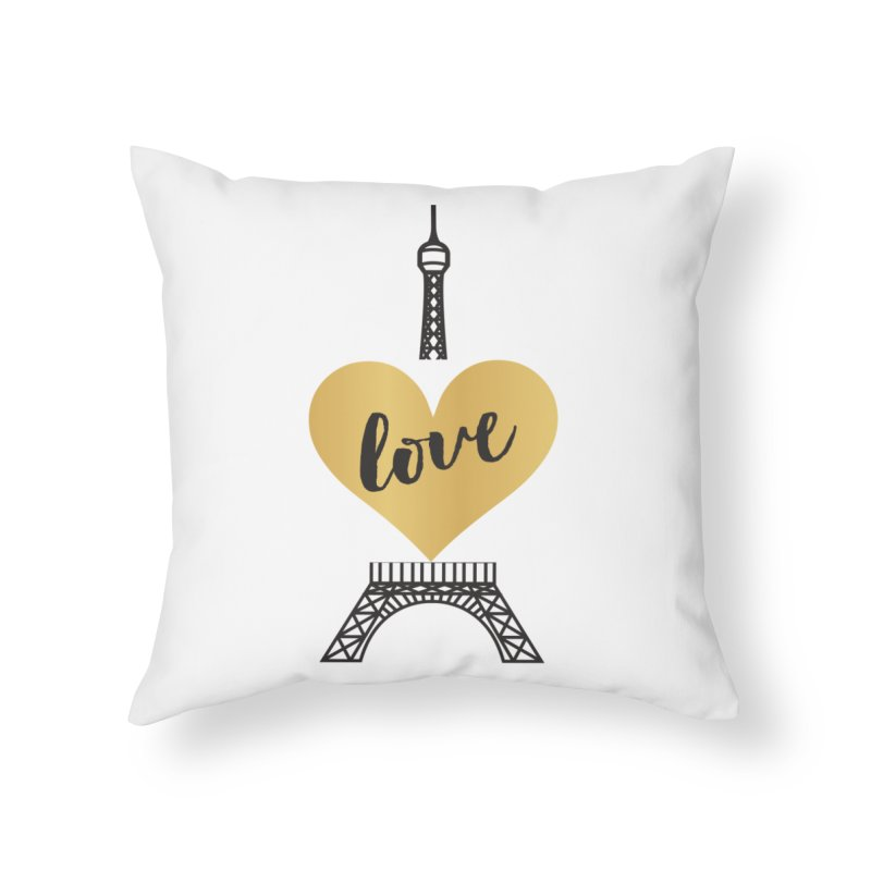 EIFFEL TOWER & GOLD HEART Home Throw Pillow by IF Creation's Artist Shop