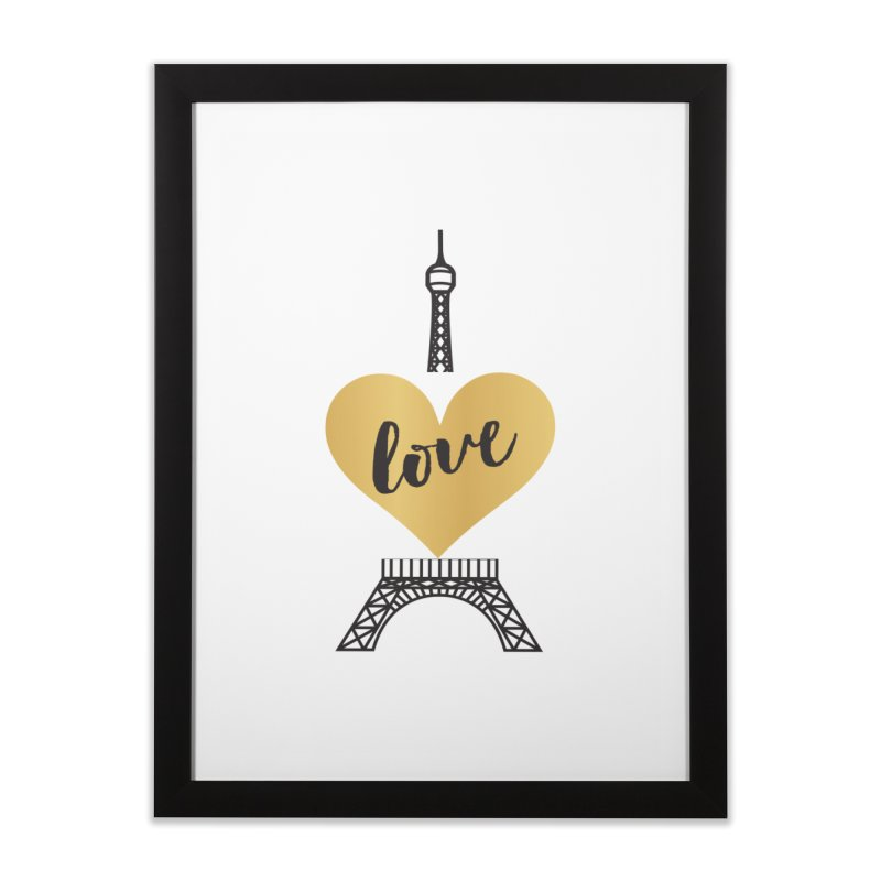 EIFFEL TOWER & GOLD HEART Home Framed Fine Art Print by IF Creation's Artist Shop