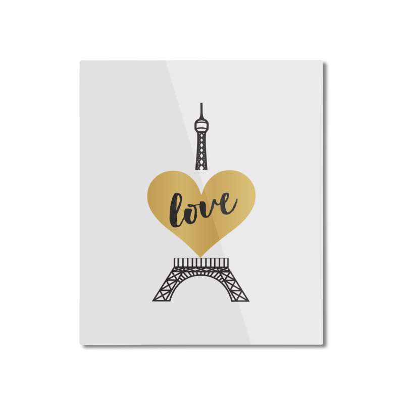 EIFFEL TOWER & GOLD HEART Home Mounted Aluminum Print by IF Creation's Artist Shop