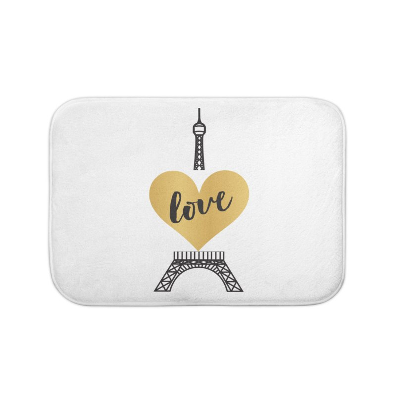 EIFFEL TOWER & GOLD HEART Home Bath Mat by IF Creation's Artist Shop
