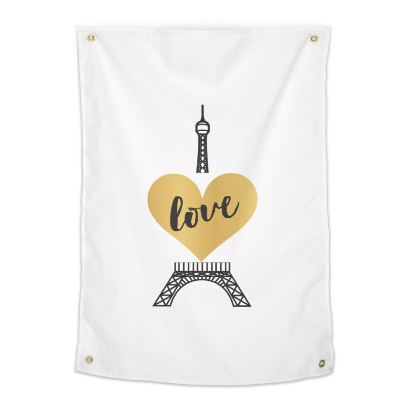 EIFFEL TOWER & GOLD HEART Home Tapestry by IF Creation's Artist Shop