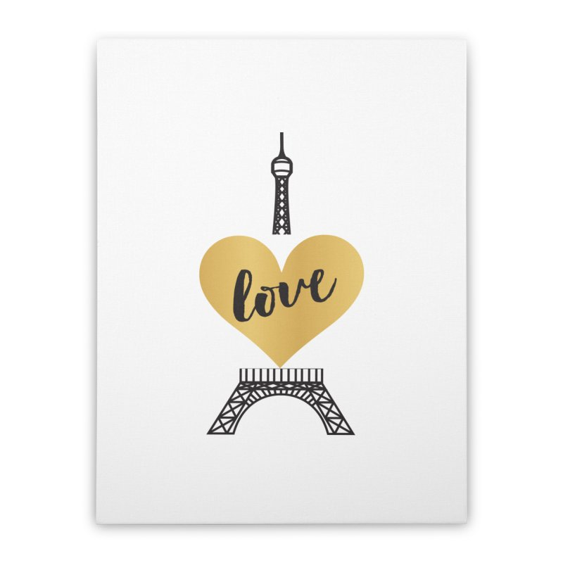 EIFFEL TOWER & GOLD HEART Home Stretched Canvas by IF Creation's Artist Shop