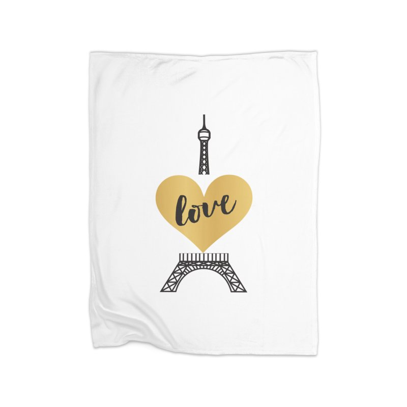 EIFFEL TOWER & GOLD HEART Home Blanket by IF Creation's Artist Shop