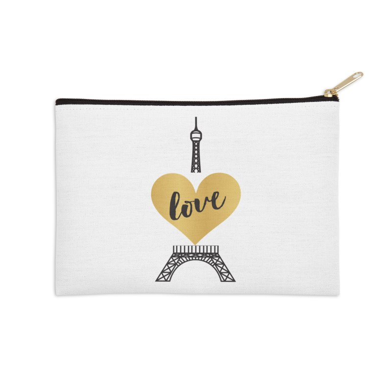 EIFFEL TOWER & GOLD HEART Accessories Zip Pouch by IF Creation's Artist Shop