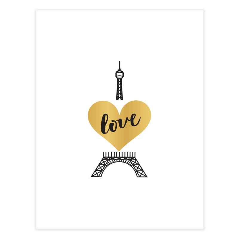 EIFFEL TOWER & GOLD HEART Home Fine Art Print by IF Creation's Artist Shop