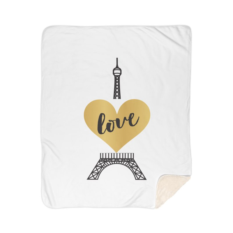 EIFFEL TOWER & GOLD HEART Home Sherpa Blanket Blanket by IF Creation's Artist Shop