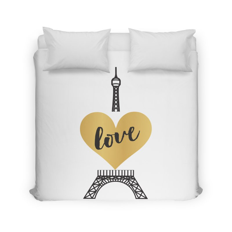 EIFFEL TOWER & GOLD HEART Home Duvet by IF Creation's Artist Shop