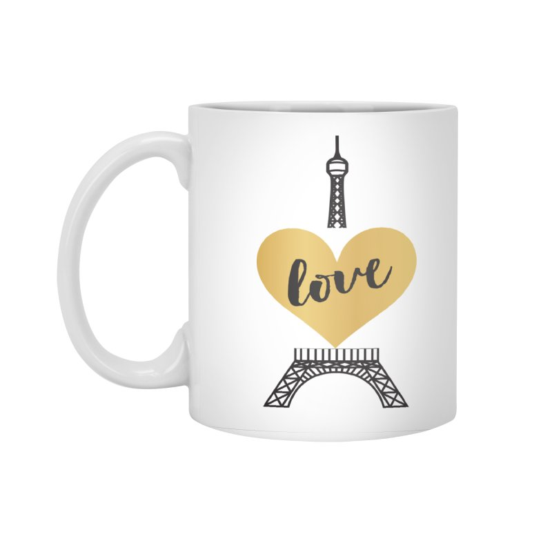 EIFFEL TOWER & GOLD HEART Accessories Standard Mug by IF Creation's Artist Shop