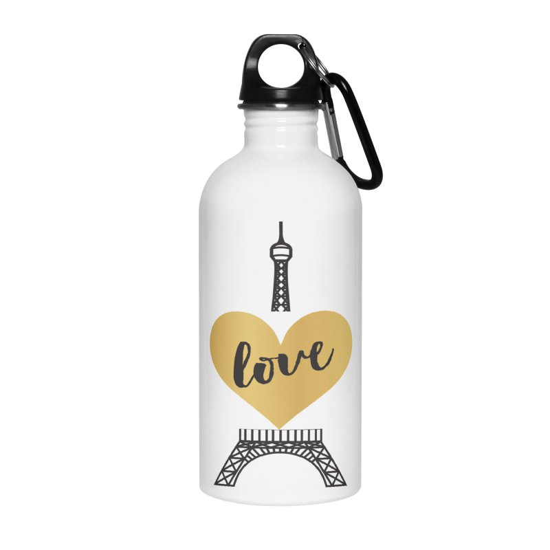 EIFFEL TOWER & GOLD HEART Accessories Water Bottle by IF Creation's Artist Shop