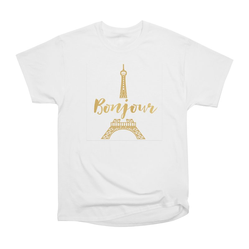 BONJOUR! EIFFEL TOWER Women's Heavyweight Unisex T-Shirt by IF Creation's Artist Shop