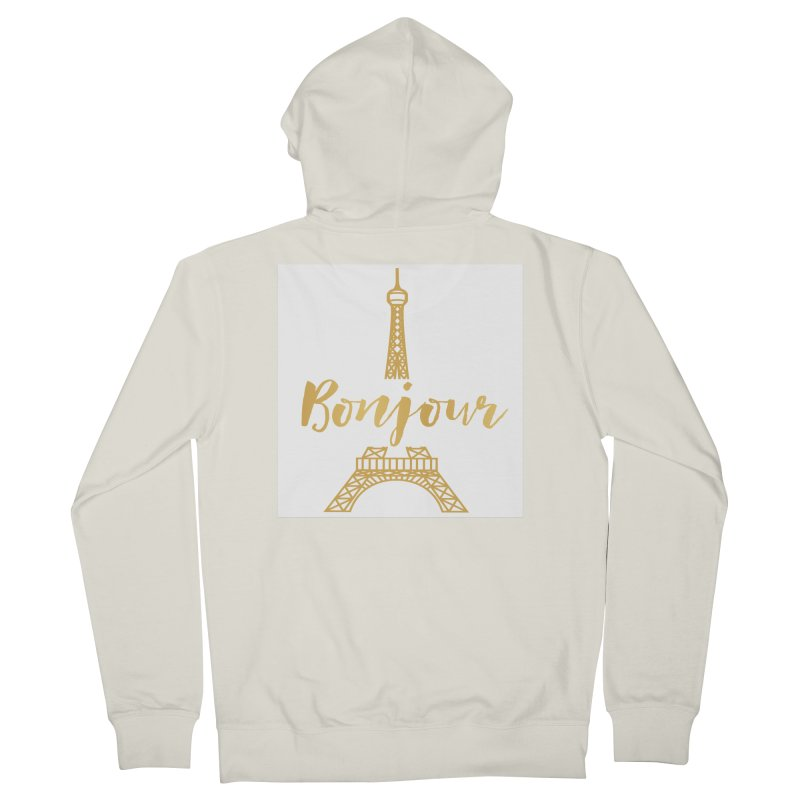 BONJOUR! EIFFEL TOWER Men's French Terry Zip-Up Hoody by IF Creation's Artist Shop