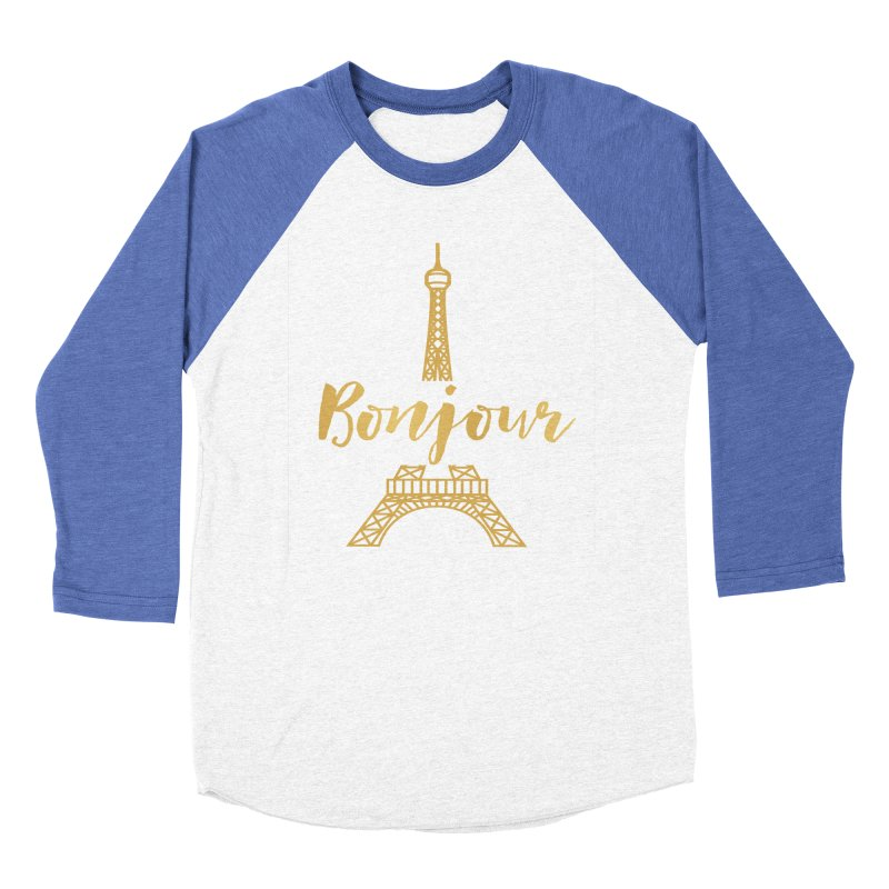 BONJOUR! EIFFEL TOWER Men's Baseball Triblend Longsleeve T-Shirt by IF Creation's Artist Shop