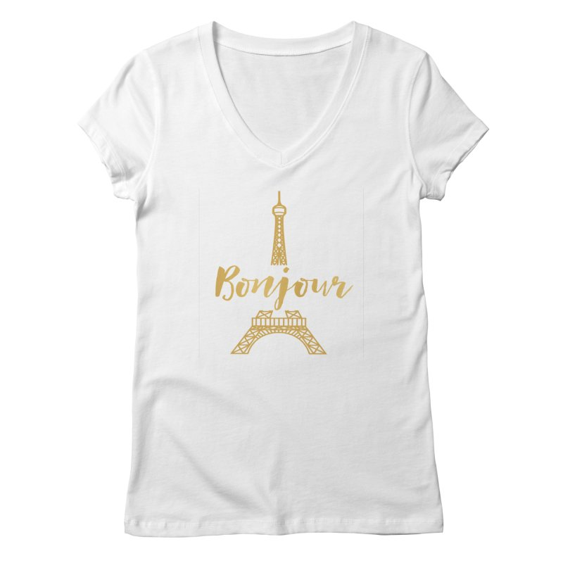 BONJOUR! EIFFEL TOWER Women's V-Neck by IF Creation's Artist Shop