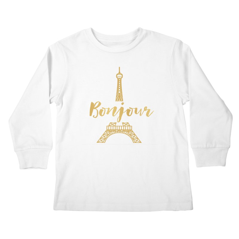 BONJOUR! EIFFEL TOWER Kids Longsleeve T-Shirt by IF Creation's Artist Shop