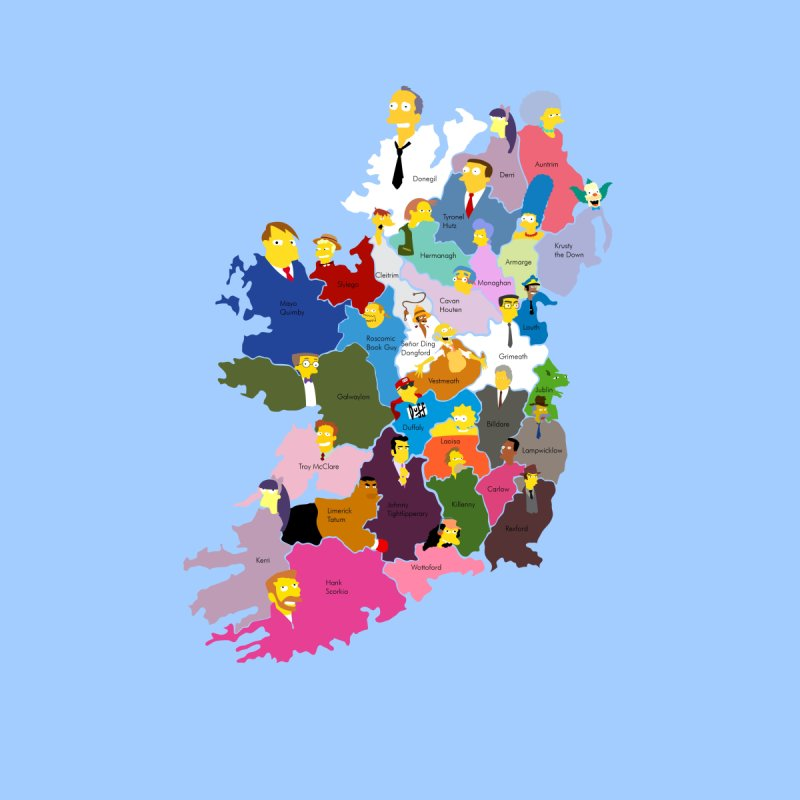 Map Of Ireland By County.Simpsons County Map Of Ireland