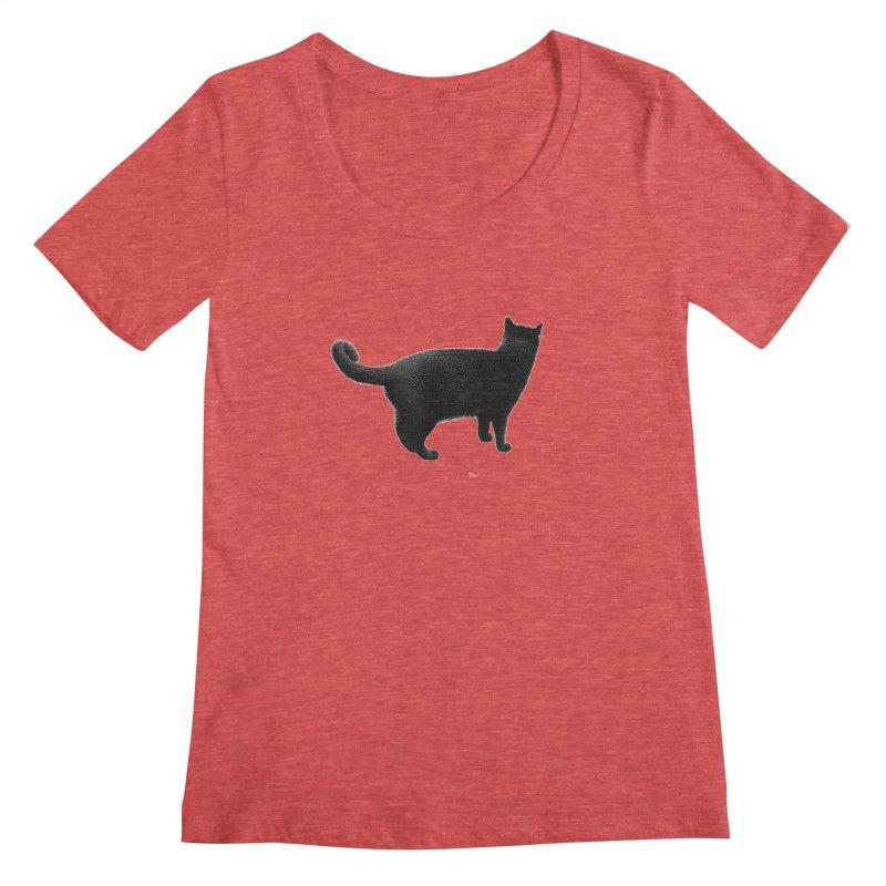 Black Cat by Igor Pose Women's Scoopneck by IgorPose's Artist Shop