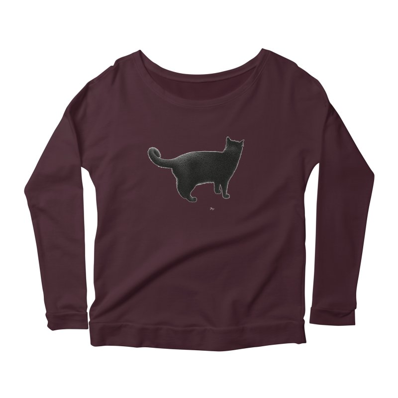 Black Cat by Igor Pose Women's Longsleeve Scoopneck  by IgorPose's Artist Shop