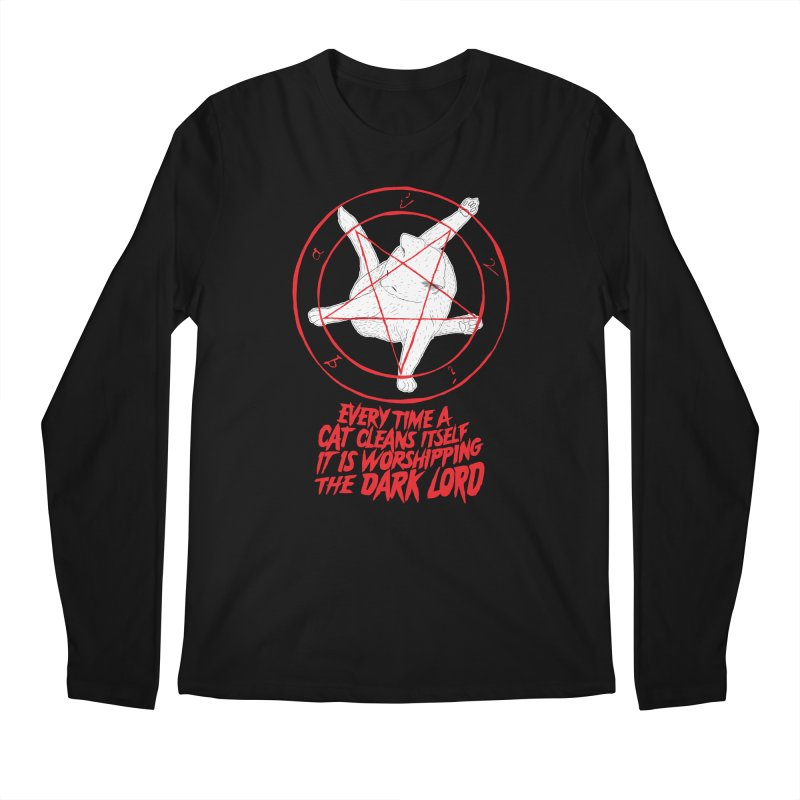 Every Time A Cat Cleans Itself It Is Worshipping The Dark Lord Men's Longsleeve T-Shirt by Iheartjlp