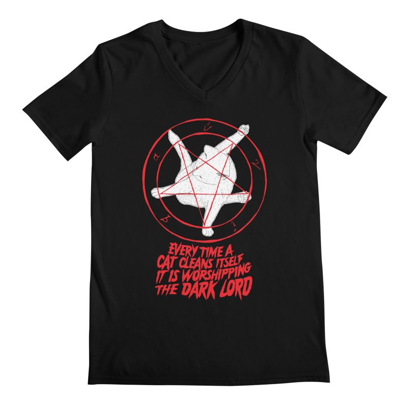 Every Time A Cat Cleans Itself It Is Worshipping The Dark Lord Men's V-Neck by Iheartjlp