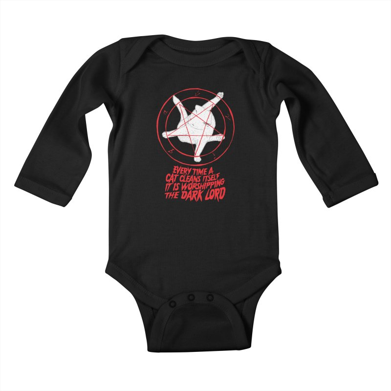 Every Time A Cat Cleans Itself It Is Worshipping The Dark Lord Kids Baby Longsleeve Bodysuit by Iheartjlp