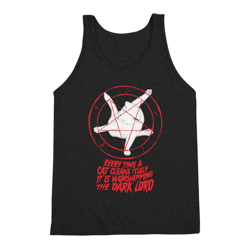 Every Time A Cat Cleans Itself It Is Worshipping The Dark Lord Men's Triblend Tank by Iheartjlp