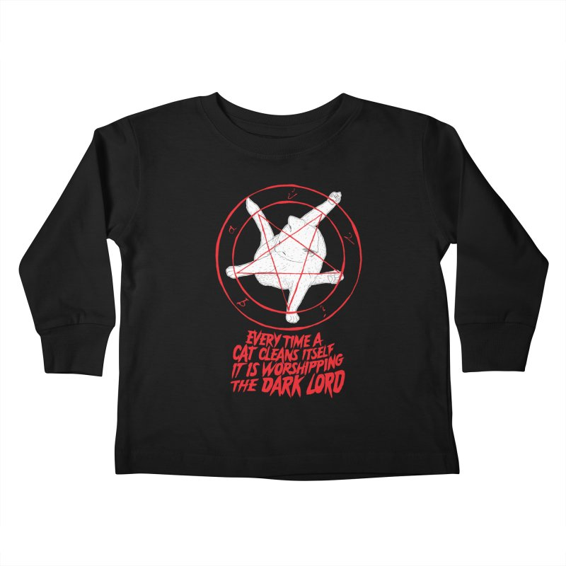 Every Time A Cat Cleans Itself It Is Worshipping The Dark Lord Kids Toddler Longsleeve T-Shirt by Iheartjlp