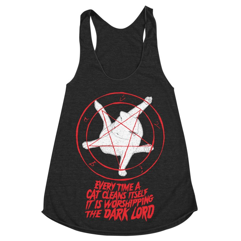 Every Time A Cat Cleans Itself It Is Worshipping The Dark Lord Women's Racerback Triblend Tank by Iheartjlp