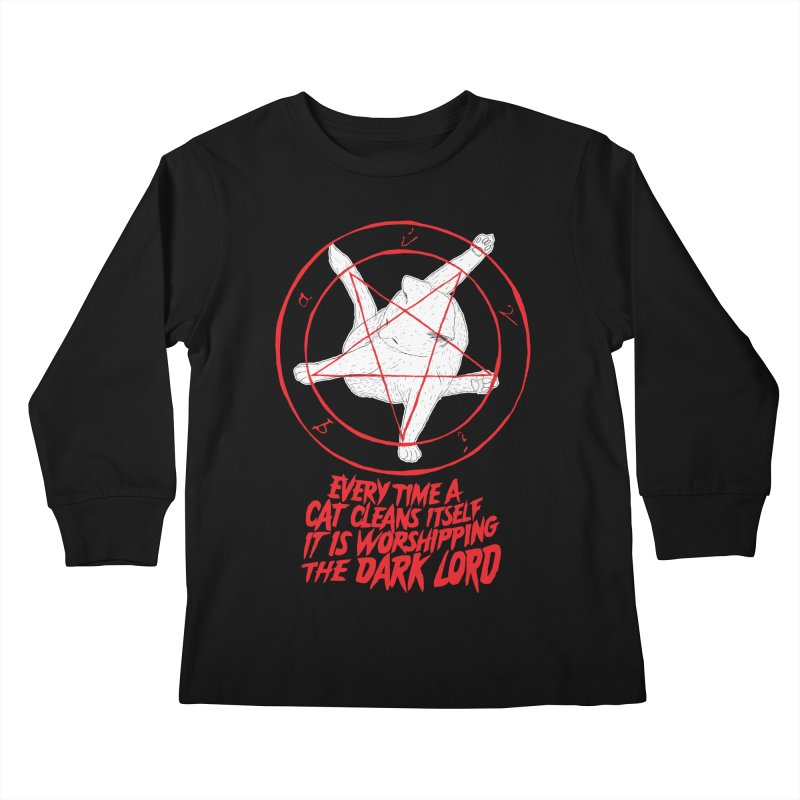 Every Time A Cat Cleans Itself It Is Worshipping The Dark Lord Kids Longsleeve T-Shirt by Iheartjlp