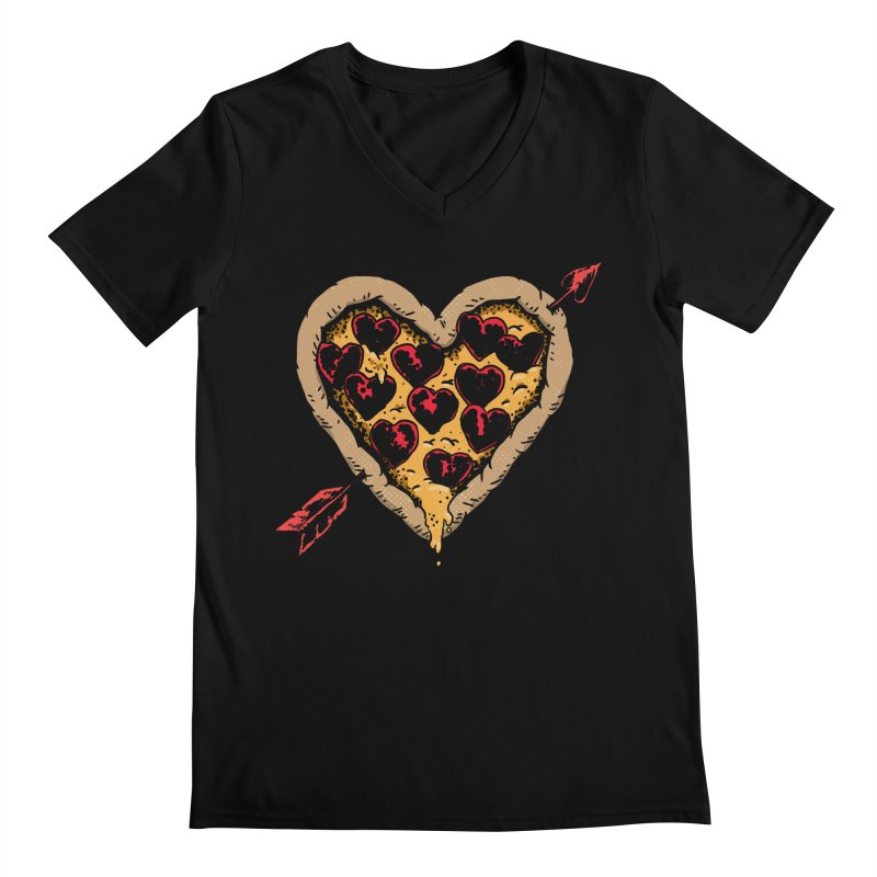 Pizza Love Men's Regular V-Neck by Iheartjlp