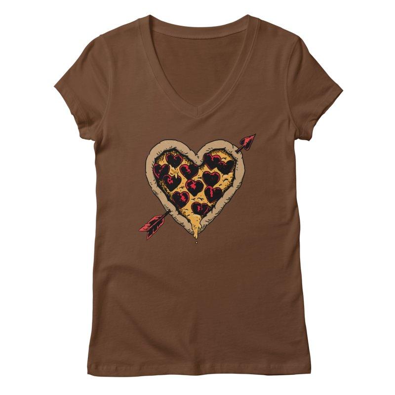 Pizza Love Women's Regular V-Neck by Iheartjlp