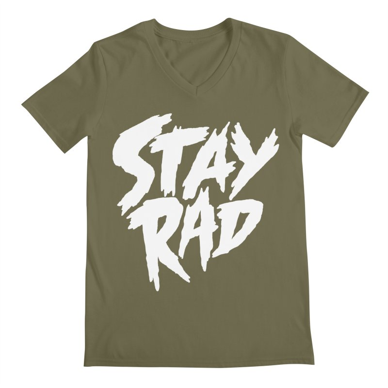 Stay Rad Men's Regular V-Neck by Iheartjlp