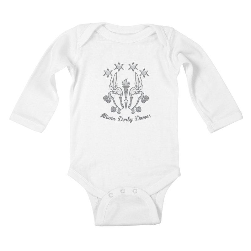 IDD logo Kids Baby Longsleeve Bodysuit by Illiana Derby Dames's Team Merch Shop