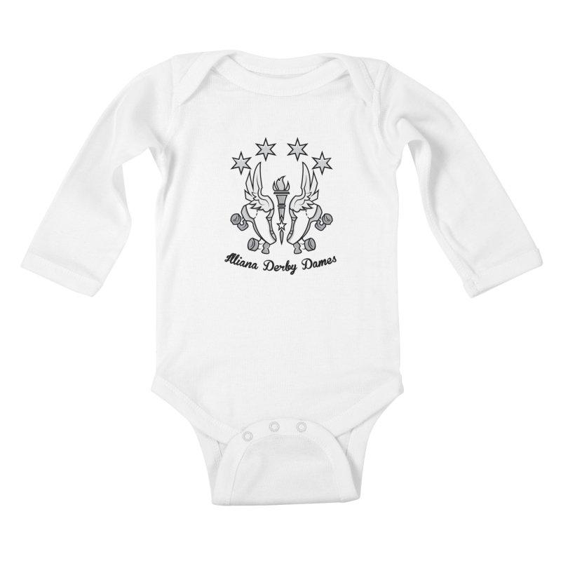 IDD logo with black letters Kids Baby Longsleeve Bodysuit by Illiana Derby Dames's Team Merch Shop