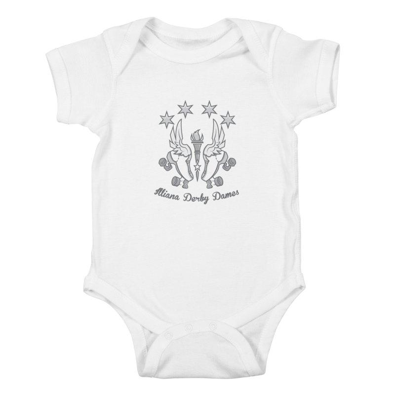 Logo with grey lettering Kids Baby Bodysuit by Illiana Derby Dames's Team Merch Shop