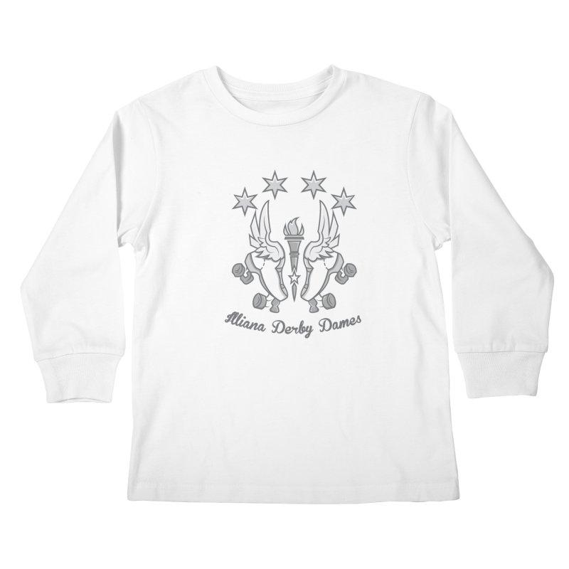 Logo with grey lettering Kids Longsleeve T-Shirt by Illiana Derby Dames's Team Merch Shop