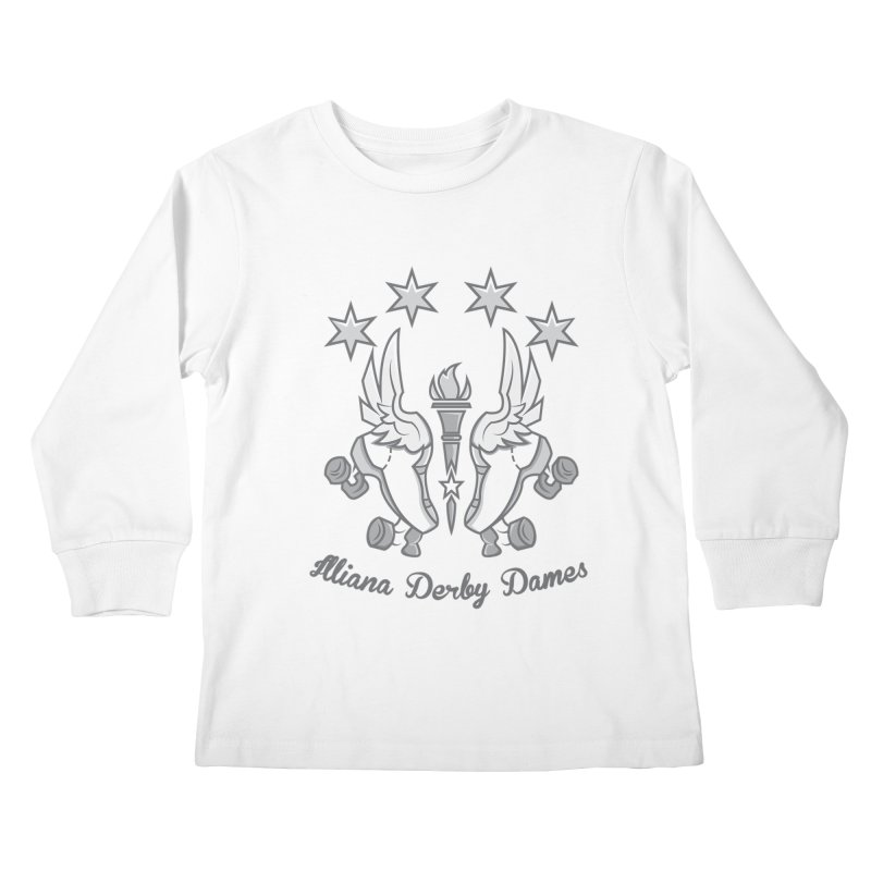 Logo with grey lettering Kids Longsleeve T-Shirt by Illiana Derby Dames's Team Merch Shop