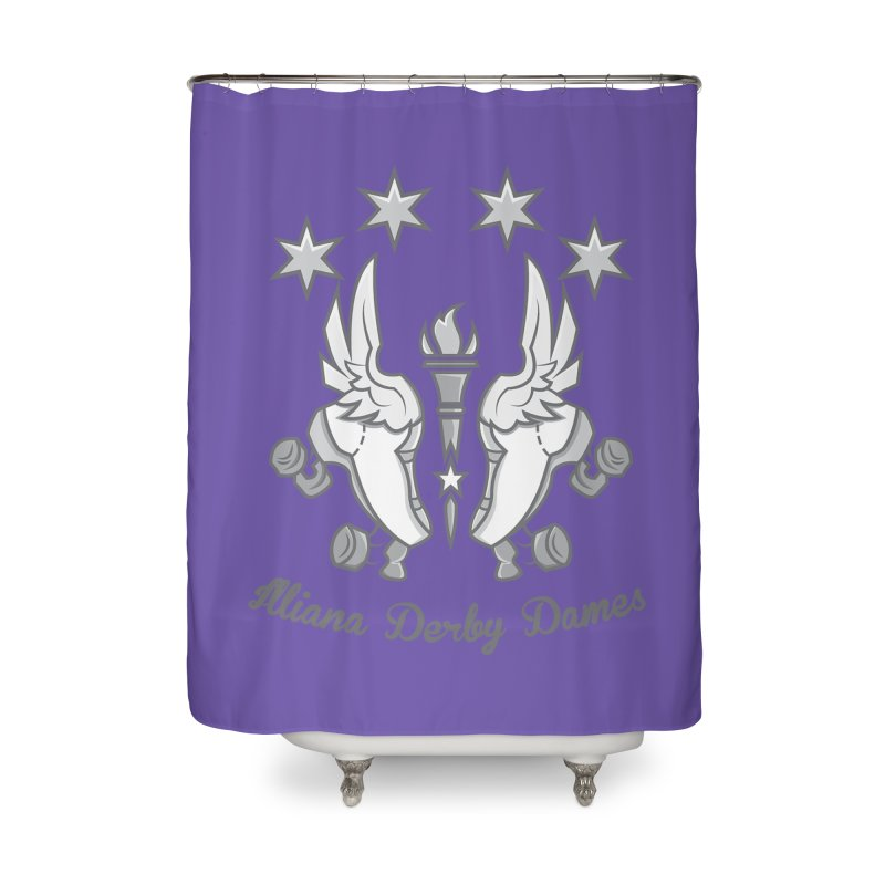 Logo with grey lettering Home Shower Curtain by Illiana Derby Dames's Team Merch Shop