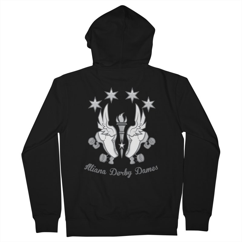 logo black background and light letters Men's French Terry Zip-Up Hoody by Illiana Derby Dames's Team Merch Shop