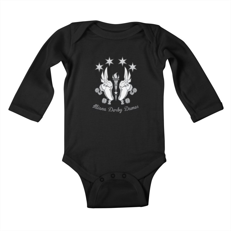 logo black background and light letters Kids Baby Longsleeve Bodysuit by Illiana Derby Dames's Team Merch Shop