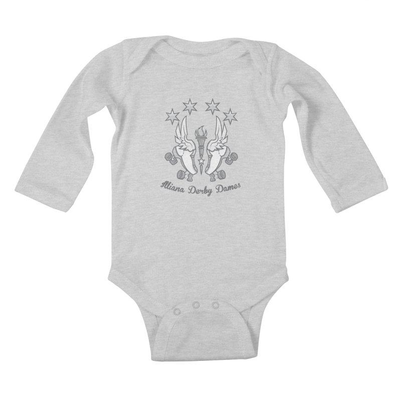logo black background and light letters Kids Baby Longsleeve Bodysuit by Illiana Derby Dames's Team Merch Shop