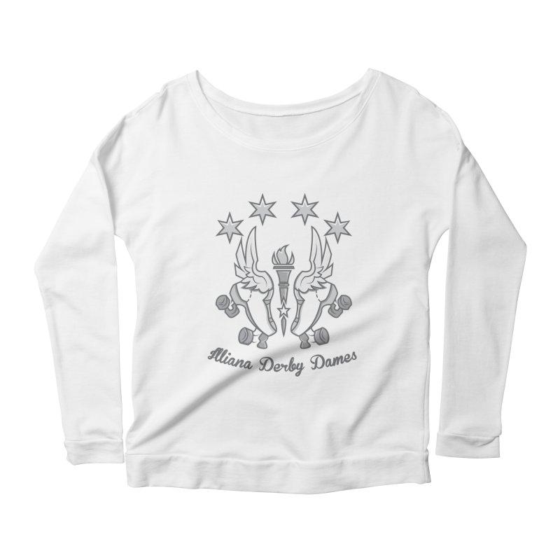logo black background and light letters Women's Scoop Neck Longsleeve T-Shirt by Illiana Derby Dames's Team Merch Shop