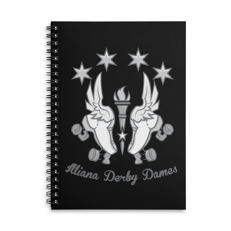 logo black background and light letters Accessories Lined Spiral Notebook by Illiana Derby Dames's Team Merch Shop