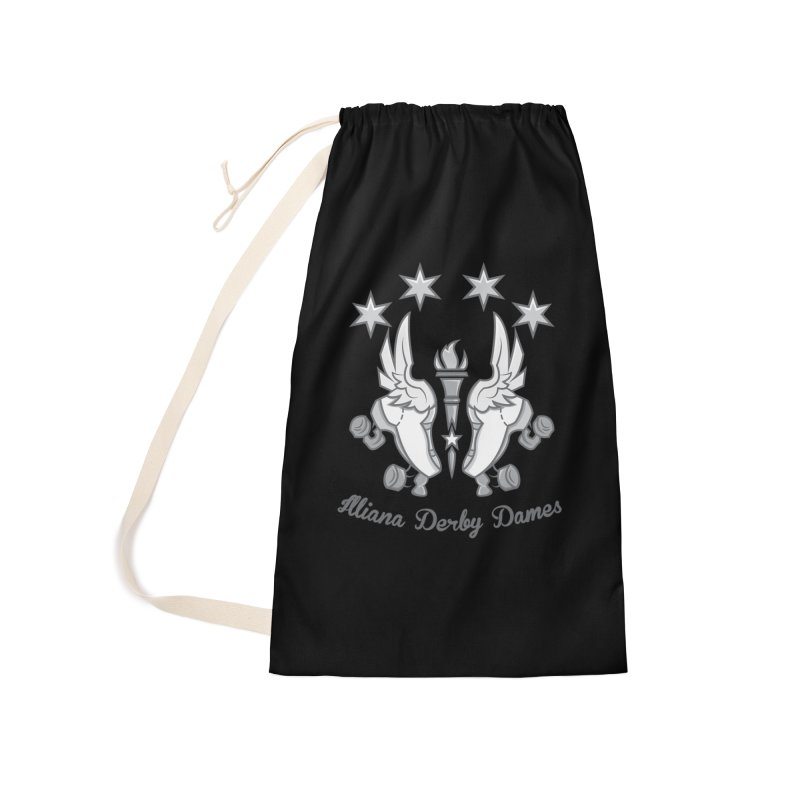 logo black background and light letters Accessories Laundry Bag Bag by Illiana Derby Dames's Team Merch Shop