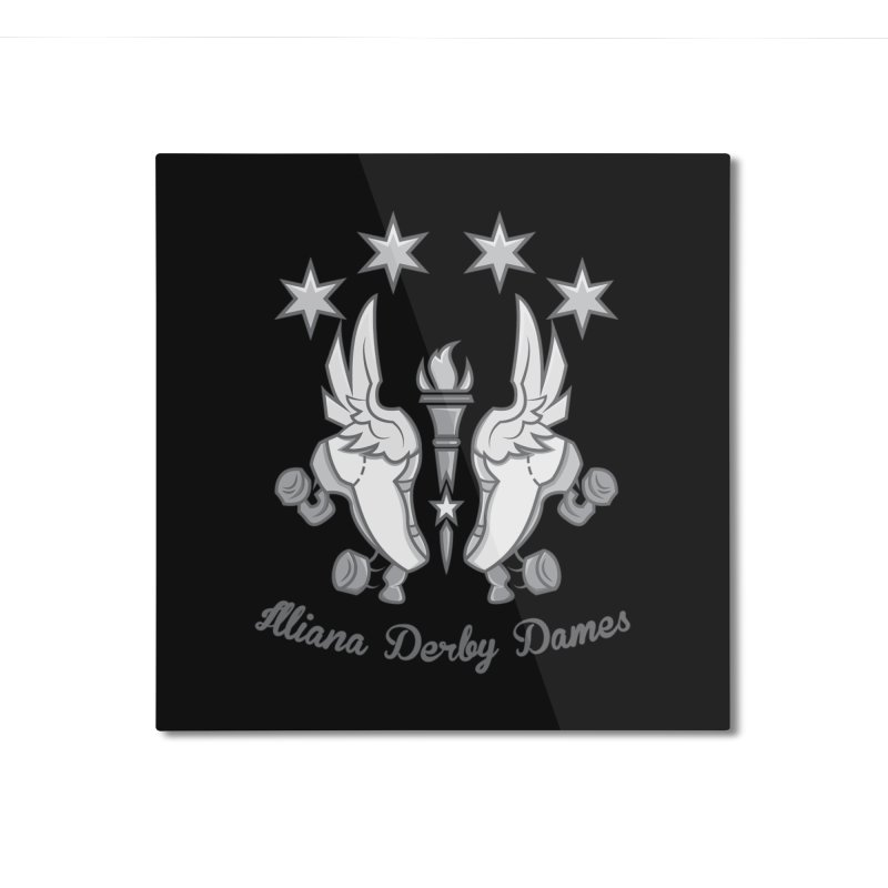 logo black background and light letters Home Mounted Aluminum Print by Illiana Derby Dames's Team Merch Shop