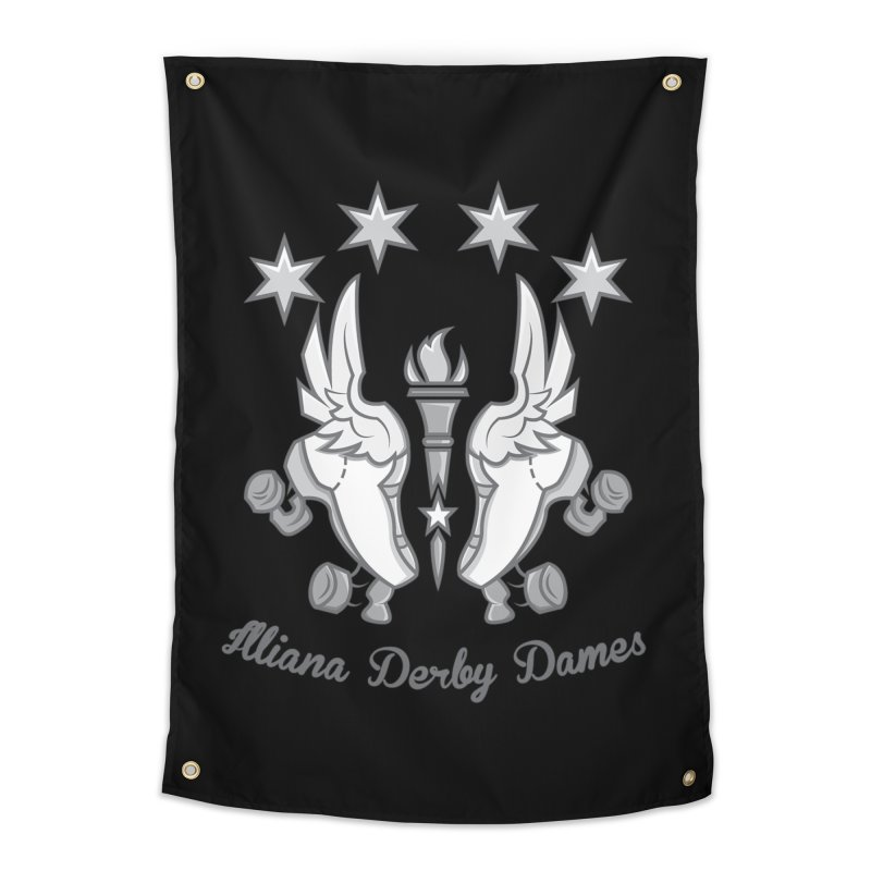 logo black background and light letters Home Tapestry by Illiana Derby Dames's Team Merch Shop