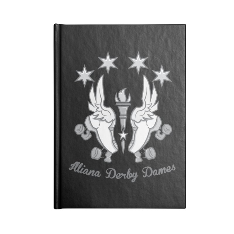 logo black background and light letters Accessories Notebook by Illiana Derby Dames's Team Merch Shop