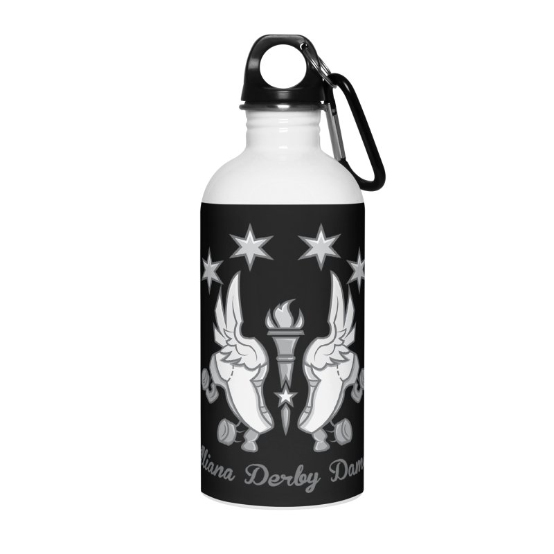 logo black background and light letters Accessories Water Bottle by Illiana Derby Dames's Team Merch Shop