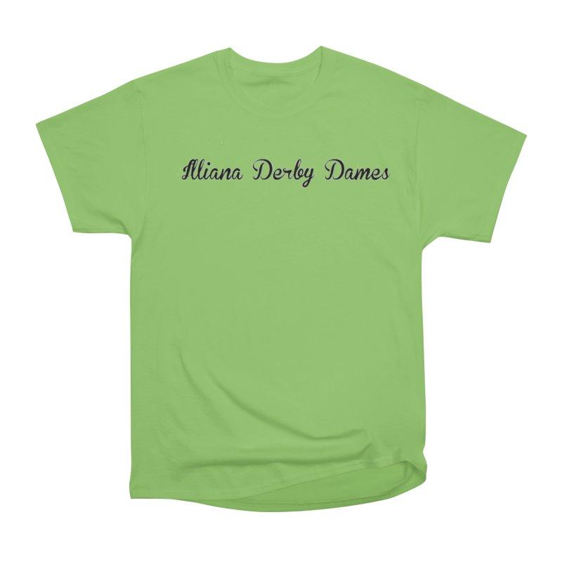 Black IDD script Women's Heavyweight Unisex T-Shirt by Illiana Derby Dames's Team Merch Shop